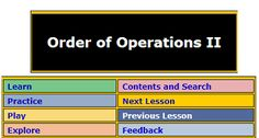 "This is an image from this resource on the Internet4Classrooms' ""Fifth Grade Interactive Math Skills - Order of Operations"" resource page:    Calculations Using Order of Operations.    Solve by applying order of operations. Round to the nearest integer. Questions may involve working with negative numbers."