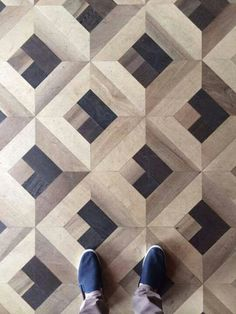 "Fun, modern parquet flooring with awesome aged-looking wood. ""LGLimitlessDesign The Grand Hotel Tremezzo Floor Patterns, Tile Patterns, Textures Patterns, Wood Floor Pattern, Timber Flooring, Parquet Flooring, Unique Flooring, Kitchen Flooring, Deco Design"