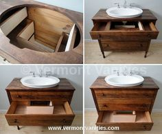 Diy Bathroom Sink Cabinet Restore Refinish And Quality Dressers Into Vessel Sink Vanities Diy Under Bathroom Sink Cabinet Diy Bathroom Vanity, Diy Vanity, Wood Bathroom, Vanity Ideas, Bathroom Cabinets, Bathroom Remodeling, Antique Bathroom Vanities, Vintage Bathroom Cabinet, Unique Bathroom Sinks