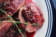 venison backstrap with blackberry sauce  I'm going to sub my garden raspberries...... this should be epic!