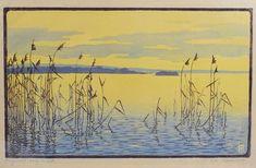 "✨ EVA ROEMER, German (1889-1972) - Schilf im See. Farbholzschnitt, rechts unten mit Bleistift signiert ""Eva Roemer"", links unten bez. ""Original-Holzschnitt"", ca 36 x 25 cm ::: Reed in the Lake, color woodcut"