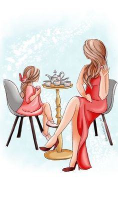 Mother And Daughter Drawing, Mother Art, Mom Daughter, Cartoon Girl Drawing, Girl Cartoon, Cartoon Art, Best Friend Drawings, Girly M, Fashion Wall Art