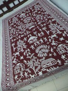 Warli Art Cotton Bedspread
