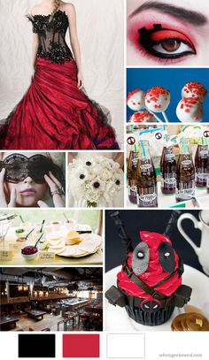 Deadpool Wedding Inspiration Board.    Photo Credits: Dress: Balllily/Bouquet: The French Bouquet Tulsa/Pop Rocks Cake Pops: Baked With Love and Butter/Taco Bar: Photographer Ryan Bernal via Wedding Chicks/Cupcakes: Nerdache Cakes/Makeup: Lally-Hime/Venue: Rockit Bar and Grill Chicago, IL/Dr. Pepper: Bend The Light Photography via GWS