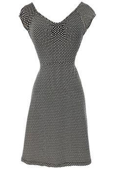 Delores Black and Ivory Crisscross Dot Dress