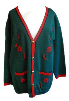 1980s Vintage Oversize Green and Red Cardigan Size 20/22