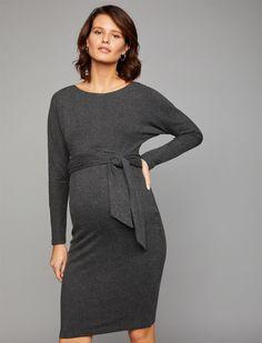 26b32f87e2b06 Luxe Essentials Denim Waist Tie Maternity Dress | A Pea in the Pod Maternity  Long Sleeve