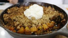 This skillet peach crisp is a sweet late summer dessert ~ I love the fact that you make and bake it in an iron skillet, and you don't have to peel the peaches!