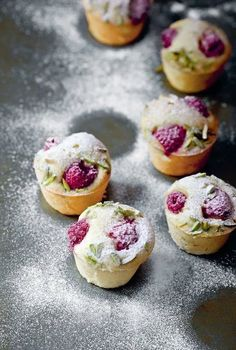 Pistachio hazelnut and raspberry friands - can be made with any type of berry, peaches or figs.