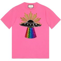 Gucci Sequin Ufo Cotton T-Shirt ($950) ❤ liked on Polyvore featuring tops, t-shirts, gucci, pink, pink sequin top, multi color t shirts, pink t shirt, gucci top and gucci tee