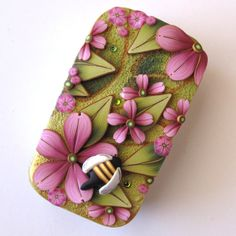 Bumble Bee in Pink Garden Slide Top Tin Sewing Needle by Claybykim, $16.00