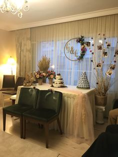 """Engagement table FMI: If they do it at their house, we can turn two chairs around in front of the sweets table if we need a """"head table""""."""