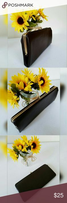 """Vintage Brown Clutch Vintage Brown Clutch with gold hardware. Has some wear on the gold hardware. Bow & flower lining. Lots of life left. Not sure of the age was my grandmothers.   Measurements Length 12"""" Height 5"""" Width 1.5""""  Get an additional 30% off when purchasing 3 or more items using the bundle feature. Always willing to negotiate. Vintage Bags Clutches & Wristlets"""