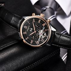39.99$  Buy now - http://ali2w7.shopchina.info/go.php?t=32807256462 - BINSSAW 2017 New Men Leather Automatic Mechanical Watch Tourbillon Fashion Luxury busines Brand Sports Watches relogio masculino 39.99$ #bestbuy