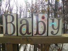 Baby Wooden Block by BeDazzledByMichelle on Etsy, $20.00