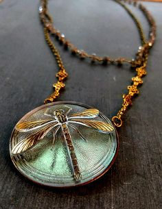 Dragonfly necklace, dragonfly pendant, vintage glass dragonfly, vintage button