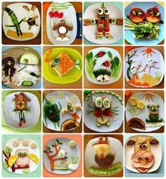 Too much fun with your food! Who says you cant play with your food. Why not. What kid wouldn't want to eat this. Not that we have time to make every meal this fun. But try for once a week. Kids will at least  be more willing to try foods.