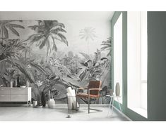 Jungle wallpaper in black and white mural. Non-woven wall mural in standard sizes or custom made mural. The Frais Caribbean Black & White Mural Wallpaper is a unique statement of nature inspired wall art. Space Wallpaper, Luxury Wallpaper, Unique Wallpaper, Wallpaper Decor, Fabric Wallpaper, Wallpaper Wallpapers, Tropical Colors, Tropical Decor, Wall Design