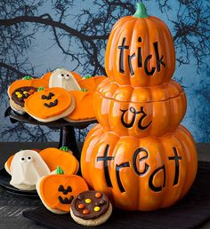 Collector's Edition Triple Jack O' Lantern Cookie Jar from CHERYLS.COM