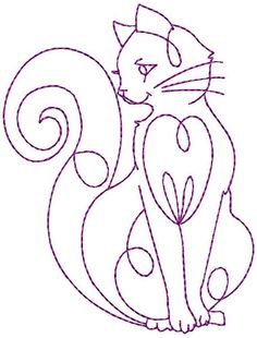 Hand Embroidery Patterns Redwork Kitty by StitchXEmbroidery