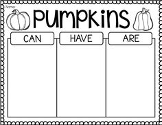 Pumpkin Activities First Grade - Pumpkin Time - Ship Shape First Grade - Can Have Are