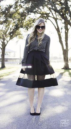 Mesh Panel Midi Skirt