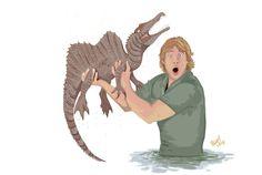 Steve Irwin and spinosaurus Dinosaur Drawing, Dinosaur Art, Spinosaurus, Prehistoric Creatures, Mythical Creatures, Anne Stokes, Jurassic Park World, Extinct Animals, Creature Design