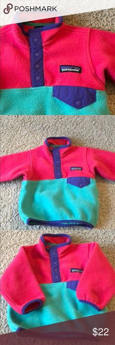 Patagonia Pull Over Size 3-6 Months Gently used Patagonia pull over. Size 3-6 months. Worn maybe 2 or 3 times. Perfect for Spring! Patagonia Jackets & Coats