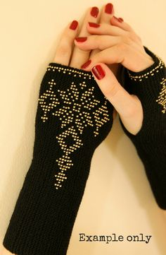 Long Black Beaded Wrist Warmers with a от HandcraftedByEvaKuno