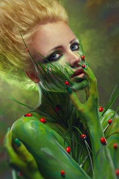 Photo about Creative beauty shot with green body-art. Image of blond, makeup, portrait - 24399048 Photomontage, The Frankenstein, Photoshop, Make Up Art, Maquillage Halloween, Halloween Makeup, Halloween Halloween, Illustration, Beauty Shots
