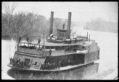 May 5, 1864: With the Federal offensive to capture Shreveport, LA ending in disaster, some Confederate artillery units formed ship hunting teams, targeting the now vulnerable and unsupported Federal warships on the Red River. On this day, two tinclad gunboats, USS Covington (pictured) and USS Signal, were escorting the troop transport USS John Warner when they were ambushed at Dunn's Bayou. All three ships were destroyed and nearly 300 soldiers and sailors were killed, wounded, or captured.