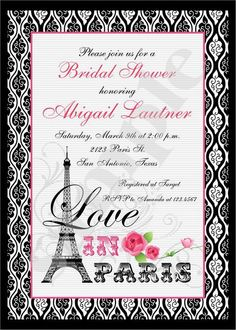 Love In Paris Invitations by PaperMonkeyCompany on Etsy, $2.00