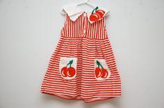 Red striped cherry dress by PotatoCakeVintage on Etsy