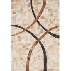 "ECARPETGALLERY Cowhide Patchwork Leather Handmade Tan/Cream Area Rug Rug Size: 4'11"" x 7'4"""