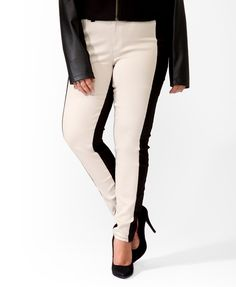 Plus size black and white tuxedo pants