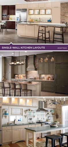 1000 images about most popular kitchen layouts on for Single wall galley kitchen