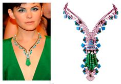 Van Cleef & Arpels on the red carpet. Turquoise, emerald and diamond Zip necklace.