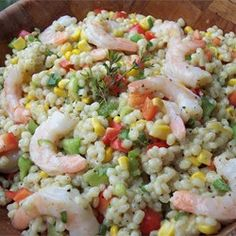 "Barley, Shrimp, and Corn Salad | ""Excellent! Very fresh tasting. I added lots of fresh parsley at the end and we all LOVED it here."""