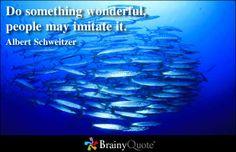 Do something wonderful, people may imitate it.  - Albert Schweitzer