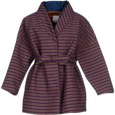 Stella Jean Blazer ($675) ❤ liked on Polyvore featuring outerwear, jackets, blazers, purple, striped jacket, long sleeve blazer, stripe blazer, multi pocket jacket and long sleeve jacket