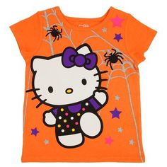 Hello Kitty™ Infant Toddler Girls' Short Sleeve Spider Tee - Pumpkin Orange