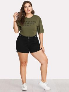 81ab01b6566 Shop Plus Raw Hem Denim Shorts online. SheIn offers Plus Raw Hem Denim  Shorts   more to fit your fashionable needs.