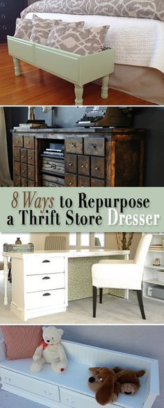8 Ways to Repurpose a Thrift Store Dresser • All these DIY projects were once plain jane old dressers from thrift stores and yard sales!