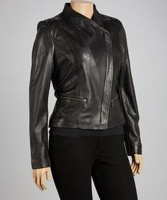 Take a look at this Black Asymmetrical-Zip Leather Motorcycle Jacket by Whet blu on #zulily today!