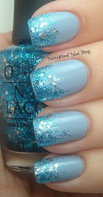 I'M WEARING THE EXACT SAME MANI RIGHT NOW :O I USED OPI ALPINE SNOW (WHITE) INSTEAD OF THE PALE BLUE, BUT I DID A GLITTER TIP GRADIENT WITH GONE GONZO. CRAZY!!!: