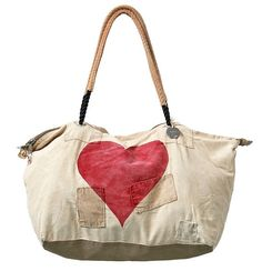 the perfect hospital bag....Ali Lamu Weekend Bag HEART. €179.00, via Etsy....made out of old sails