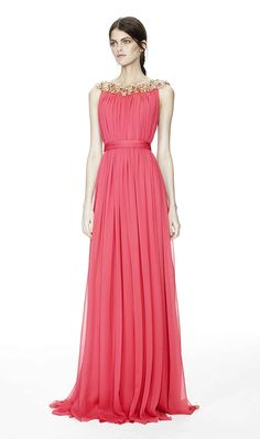 Notte by Marchesa coral chiffon gown