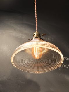 Vintage Industrial Hanging Light with Ribbed Glass Shade - Machine Age Minimalist Bare Bulb Pendant Lamp