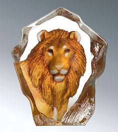 Lion -Colored Miniature Etched Crystal by Mats Jonasson