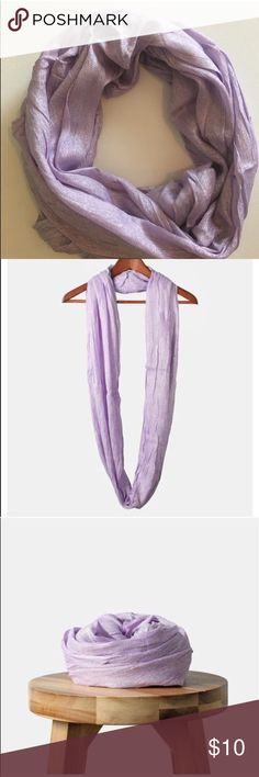 Purple w Silver Shimmer Infinity Scarf $5 Add a touch of fancy to your casual or dressier looks with this beautiful scarf with shimmery finish. A chic way to layer up and keep warm as the weather gets cooler! NWOT Boutique • Scarf has some snags and pulls  • Offers Welcome • Bundle Discounts  • Suggested User • Fast Shipper Accessories Scarves & Wraps